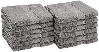 Amazon Basics Dual Performance Washcloths - 12-Pack, Warm Stone