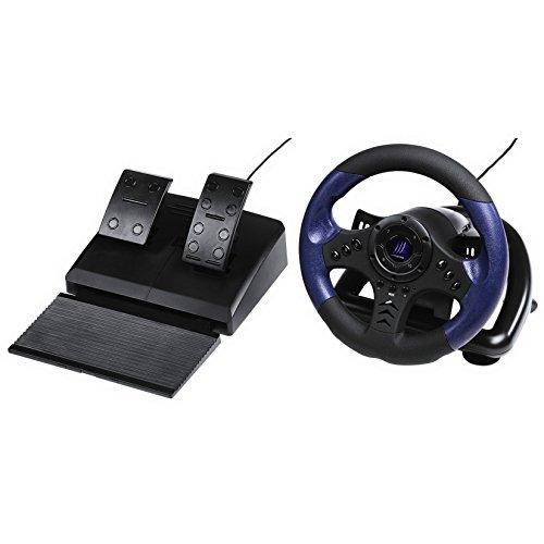 uRage Lenkrad für PC (Gaming Lenkrad mit Pedalen, Schaltung, Vibration, USB-Anschluss, Kabellänge 2m, für Simulator Spiele) Racing Wheel schwarz/blau