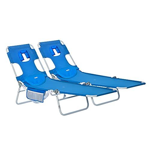 Outsunny Set 2 Sdraio da Giardino Pieghevoli, Schienale Regolabile su 5 Posizioni e Apertura per Il Viso, 182x55x28cm Blu