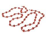 Helmecke & Hoffmann * Weihnachtsbaum-Kette mit Mini-Diskokugeln | Länge: 110 cm | Farben: Gold, Silber oder Rot | Kugelkette Perlenkette Partykette (Rot)