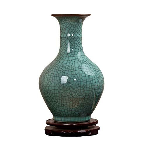 gxj Vase Flower arrangement vase Modern new Chinese style ceramic vase Living room study decoration decorative vase (31cm×19cm×12cm) (Color : A)