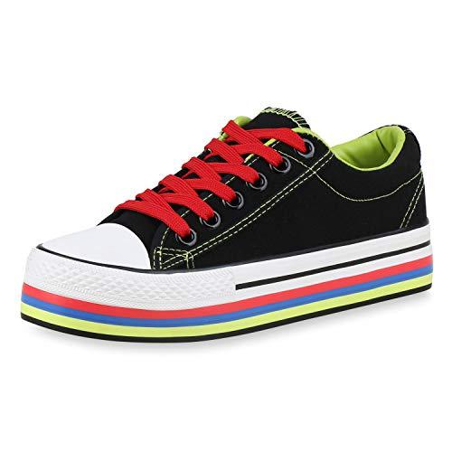SCARPE VITA Damen Plateau Sneaker Bunte Schuhe Schnürer Canvas Turnschuhe Stoff Freizeit Plateauschuhe 184445 Schwarz Rot Neon Grün 36