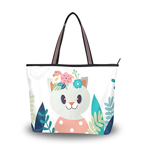 Handbags Purse Shopping Cartoon Cat Garden Shoulder Bags Light Weight Strap Tote Bag for Women Girls Ladies Student