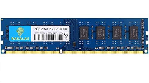 Rasalas 8GB PC3-12800U DDR3-1600 Udimm DDR3L 12800 Desktop PC3L 1600MHz 240 Pin DIMM RAM 2RX8 CL11 1.35V UDIMM RAM Memory for...