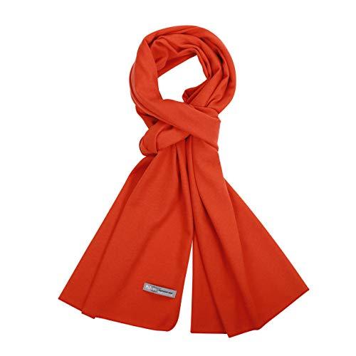 PuTian 100 Womens Merino Wool Scarf Women Pashmina Neckwear with GiftBox FlameOrange 78by17