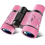 COOLEAD Binoculares para Niños Al Aire Libre Juguetes Prismáticos Compacto para Observación de Aves 4x30 Alta Resolución Telescopio a Prueba de Golpe Juguete Educativo Regalo para Niños (Rosa)