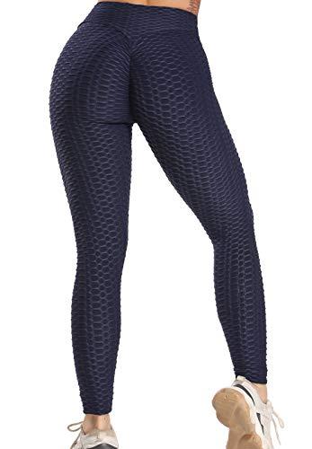 FITTOO Leggins Anti-Cellulite Sportivi Donna Pantaloni Tuta 3D Push up Yoga Pants Sexy Alta Elastico Fitness Ginnastica Blu Scuro S