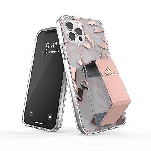 adidas Funda diseñada para iPhone 12 / iPhone 12 Pro 6.1, Transparente, Correa de Mano a Prueba de caídas, Bordes elevados, Funda Deportiva, Color Rosa