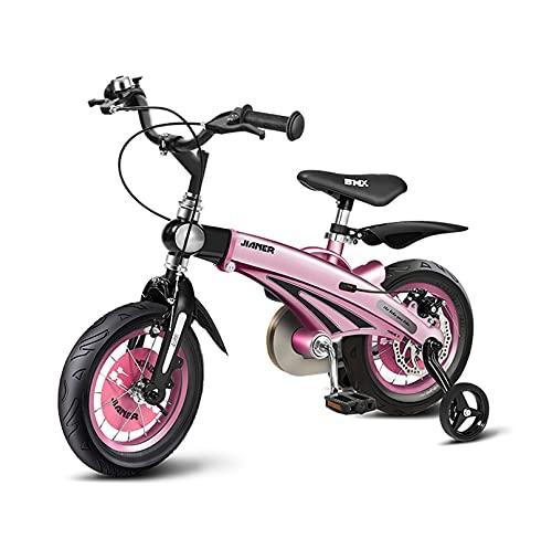 12 Pulgadas / 14 Pulgadas / 16 Pulgadas de Bicicleta para niños Ajustables con Ruedas de Entrenamiento y Frenos duales, adecuados para niños de 3 a 6 años (Color : Pink, Size : 16inch)