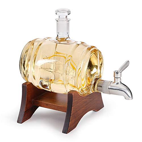 Decantador de Whisky, Nave de velero Acero Inoxidable Spigot Dispensador de licores Soporte de Madera con Vino de Grifo para Tequila Bourbon Scotch Rum Alcohol relacionado con los Regalos