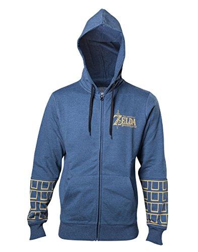 The Legend of Zelda Breath Of The Wild - Gold Game Logo Sweat à capuche zippé bleu chiné XXL