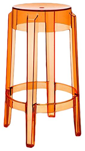 Kartell 04898CS Charles Tabouret Ghost, Orange transparent, 2 Pièces