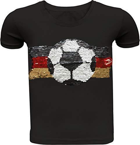 Fußball Kinder Jungen T-Shirt Wendepailletten Hemd Deutschland Germany WM 2018 Rundhals Freizeit (110-116, Schwarz)