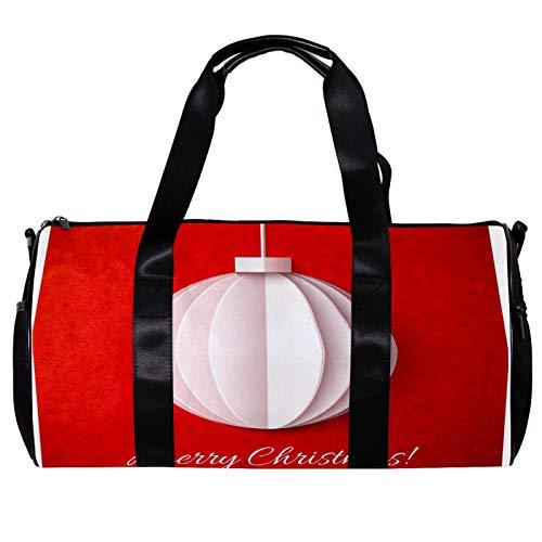 Anmarco Seesack für Damen und Herren, Weihnachts-weiße Laterne, Origami-Papier auf rotem Sport-Turnbeutel, Wochenende, Übernachtung, Reisetasche, Outdoor-Gepäck, Handtasche