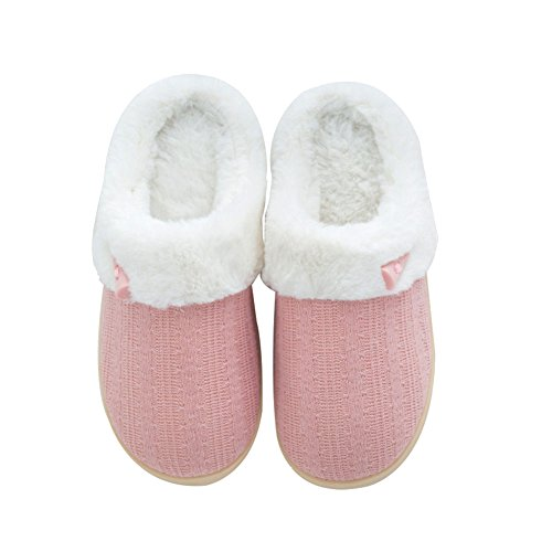 NineCiFun Women's Slip on Fuzzy Slippers Memory Foam House Slippers Outdoor Indoor Warm Bedroom Shoes Fur Lined (5-6 M US, Pink)