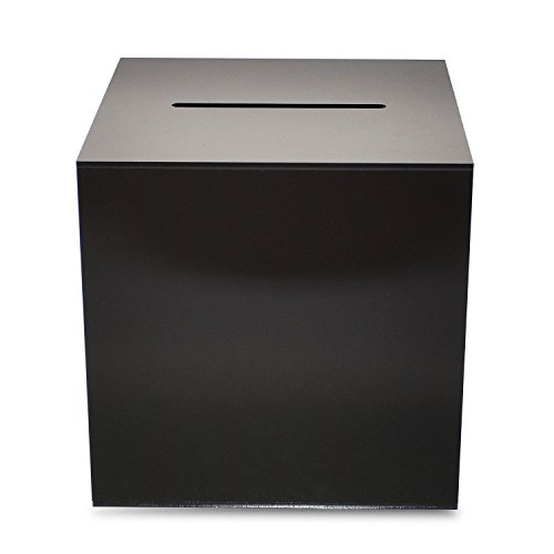 Source One Premium Acrylic Cube Donation Box with Deluxe Rear Open Door and Cam Lock Suggestion Box (12 Inch, Black)