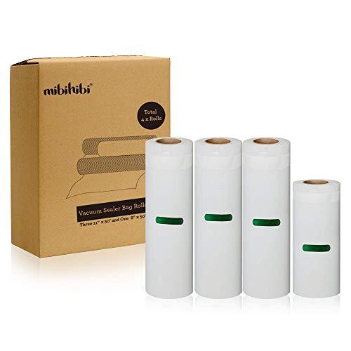 """MIBIHIBI Best Value 4 Pack Vacuum Sealer Bag Rolls - 3 Rolls of 11"""" (inch) x 50"""