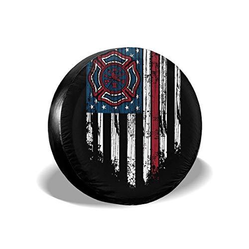 N\A Bombero Bandera Americana Delgada línea roja Bombero Personalizado Cubierta de neumático de Rueda Cubierta de neumático Apto para Todos los Coches
