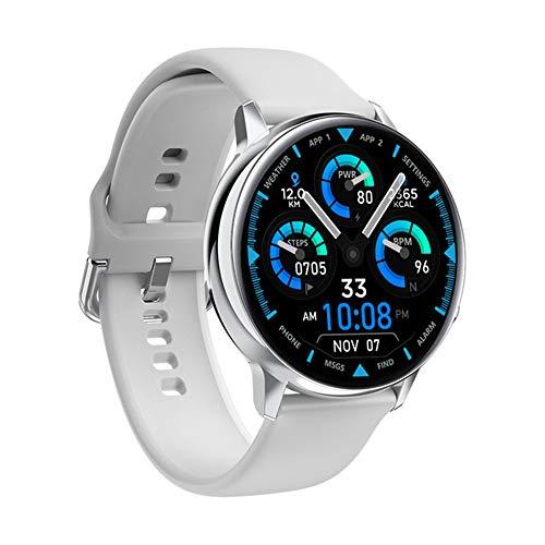 GWX Smart Watch Rundsieb Drahtlose Aufladen Bluetooth 5.1 Herzfrequenz EKG Blutdruck Pulsoximeter Schritt Ruferinnerung Armband Fitness Tracker,Weiß