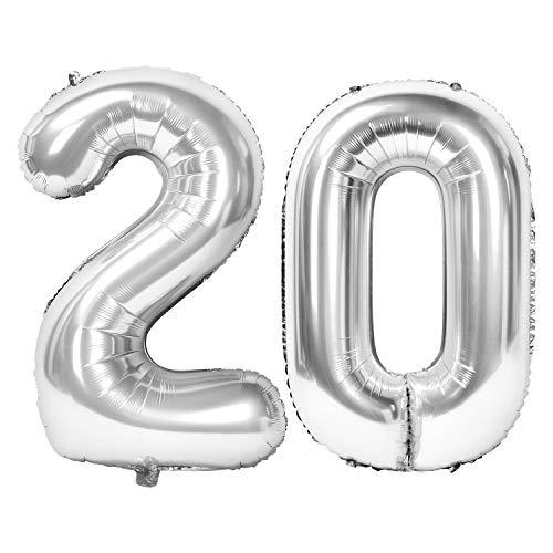 Siumir Numéro Ballons 20 Ans Géant Ballons en Argent Foil Helium Ballons Fête d'anniversaire Ans Anniversaire Décoration