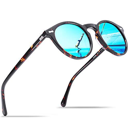 Carfia Runde Damen Herren Sonnenbrille Polarisierte UV 400 Schutz Brille Retro Acetat Rahmen, Einheitsgröße, Herren - Rahmen: Schildpatt; Linsen: Blau