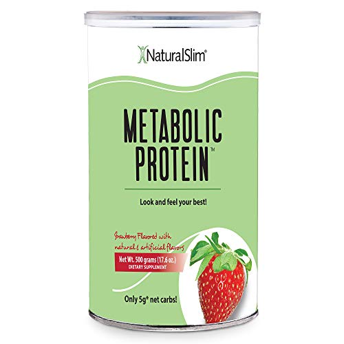 NaturalSlim Whey Protein Blend Shakes, All-in-One Meal Replacement Shake with Vitamins, Minerals & Amino Acid L-Glutamine - Great Taste and Very Filling, 10 Serving (17.6 oz - Strawberry)