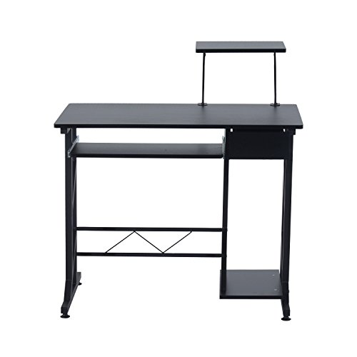 HOMCOM Mesa de Ordenador PC Despacho Escritorio Mobiliario Oficina Madera Negro 90x50x95cm