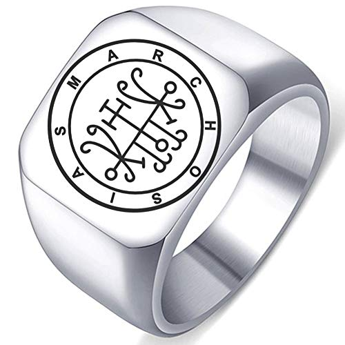 Engraved Silver Demons Symbol Sigils of Summoning Stainless Steel Marchosias Gives Aid in Battles a Demon Bound Ring
