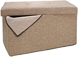 Simplify Linen Folding Storage Ottoman, Toy Box Chest, Tufted Padded Seating, Bench, Foot Rest, Stool, Double, Natural
