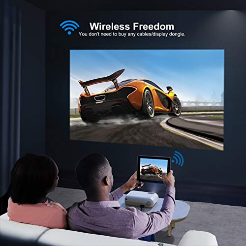"""YABER V2 WiFi Mini Projector 6500L [Projector Screen Included] Full HD 1080P and 200"""" Supported, Portable Wireless Mirroring Projector for iOS/Android/TV Stick/PS4/PC Home & Outdoor (White)"""