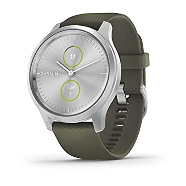 Garmin vivomove Style Hybrid Smartwatch (Silver with Moss Band)