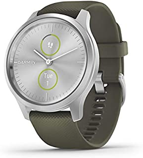 Garmin vívomove Style, Hybrid Smartwatch with Real Watch Hands and Hidden Color Touchscreen Displays, Silver with Moss Gre...
