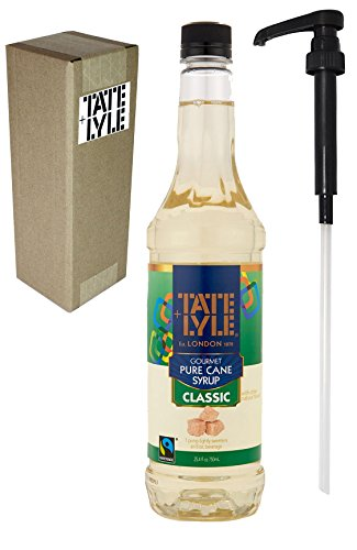 Tate+Lyle Fairtrade Pure Cane Sugar Classic Simple Syrup, 750mL (25.4 oz) Bottle, Individually Boxed, with Syrup Pump