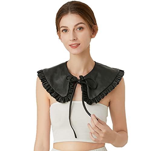 YAKEFJ Mini cuello falso desmontable cuello de piel sintética con volantes chal para mujeres y niñas