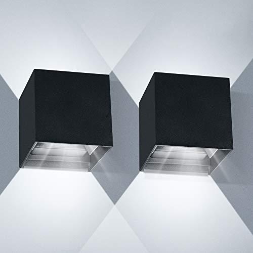 Applique Murale Interieur 12W 2pcs LED Applique Murale Exterieur 6000K Angle de Faisceau réglable Appliques Murales IP65 Lampe Aplique Mural Moderne(Noir)
