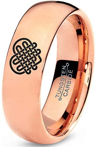 Zealot Jewelry Tungsten Keltic Celtic Many Knots Heart Shape Band Ring 7mm Men Women Comfort Fit 18k Rose Gold Dome Polished Size 10