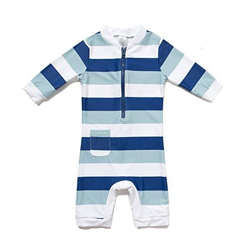 BONVERANO Baby Junge EIN stück 3/4 der ärmellänge UV-Schutz 50+ Badeanzug MIT Einem Reißverschluss(Blau-Die Tasche,3-6M)