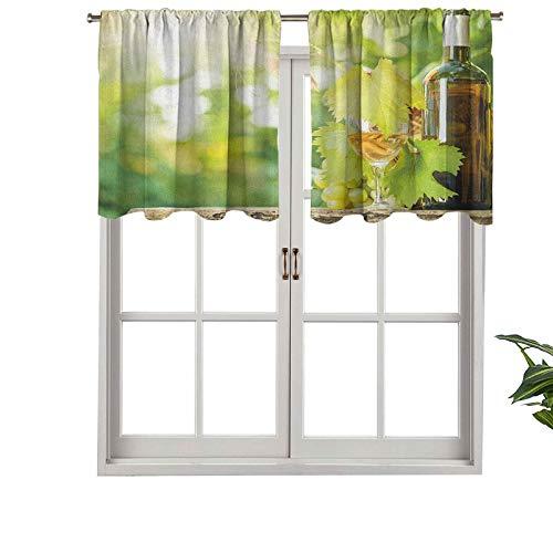 Hiiiman Cenefa de cortina con bolsillo para barra de vino blanco con aislamiento térmico para botellas de vino de vidrio joven ramo de uvas, juego de 1, 91,4 x 45,7 cm para dormitorio, baño y cocina