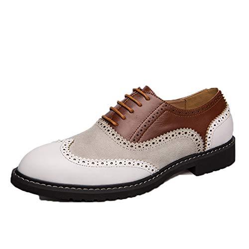 Zapatos Formales para Hombres Zapatos Oxford con Cordones y retales Brogue Punta Puntiaguda Zapatos de Cuero de Oficina de Negocios Simples Antideslizantes con Punta Baja