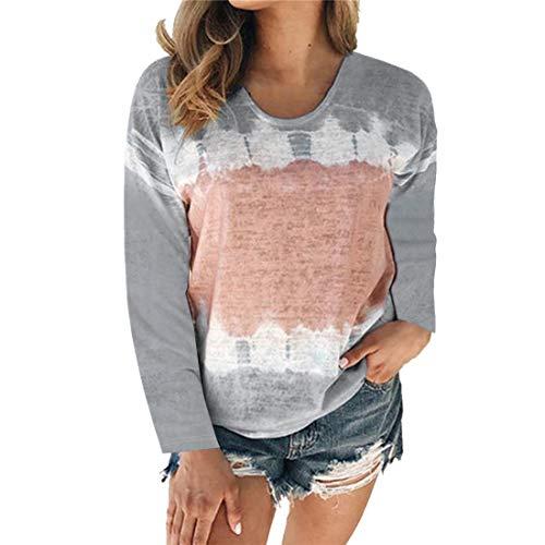 T-Shirt Damen Tops Damen Elegant Und Bequem Lässig Langärmelig Lose Rundhals Damen T-Shirts Herbst Neue Weiche Stoff All-Match Sexy Damen T-Shirts A-Gray 5XL