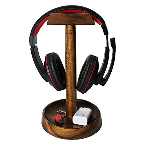 Wrightmart, Headphone Stand, Wooden Headset Holder, Ear Phone Hanger with Desk Accessory Tray