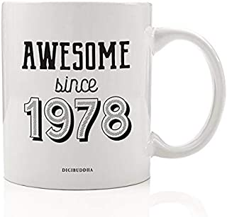 Happy Birthday Coffee Mug AWESOME SINCE 1978 Party Gift Idea Celebrates Birth Year Born in 1978 Special Present Relative Friend Family Office Coworker 11oz Ceramic Beverage Tea Cup Digibuddha DM0743