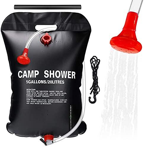 Xionghonglong Solardusche Duschsack,20L Campingdusche,Solar Heizung Dusche Tasche,Campdusche Wassersack,Outdoor Warmwasser Duschsack,Tragbare Camping Dusche Tasche,Warmwasser Duschsack