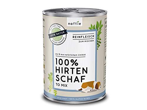 naftie Premium Hundefutter 100% Hirten Schaf | Reinfleisch-Dosen pur Nassfutter | zum Mischen, Barf-Fleisch | Glutenfrei | Getreidefrei | 400 g Dose
