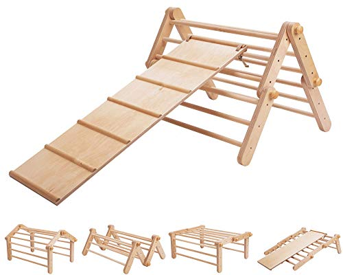 Modifiable Pikler triangle MOPITRI, climbing ladder for kids, foldable triangle WITH A SLIDING / CLIMBING RAMP