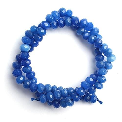 Agate multicolori sfaccettate perline in pietra naturale perline distanziatrici allentate per gioielli che fanno orecchini collana braccialetto fai da te-blu, 3x4mm