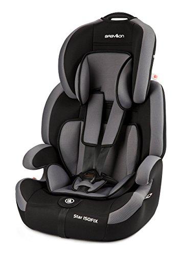 Babylon Star ISOFIX Autokindersitz Gruppe 1/2/3, 9-36kg Kindersitz mit Isofix und Top Tether 5 Punkt Sicherheitsgurt Autositz Einstellbare Kopfstütze ECE R44/04 Grau