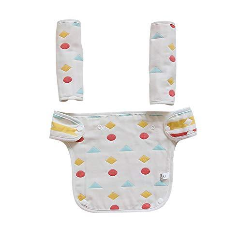 3PCS / Set Baby-Taille Hocker Geifer Zahnen Reversible Wattepad, Dreiteilige Baby Taille Hocker Speicheltuch Multifunktionsbabyriemen Mahlzeit Mantel bib