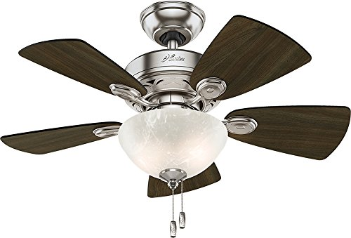 Hunter Indoor Ceiling Fan with light and pull chain control - Watson 34 inch, Brushed Nickel,...