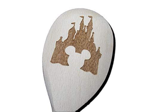 FastCraft Walt Disney Mickey Maus Ohren Schloss inspiriert Holz Backlöffel Küche Kochen Geburtstag Geschenk Fan Laser Gravur